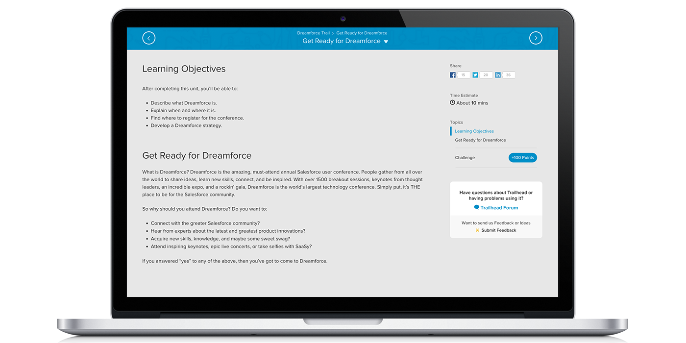 Internet Creations Salesforce Trailhead Review of the Dreamforce Trail Learning Objectives Screenshot