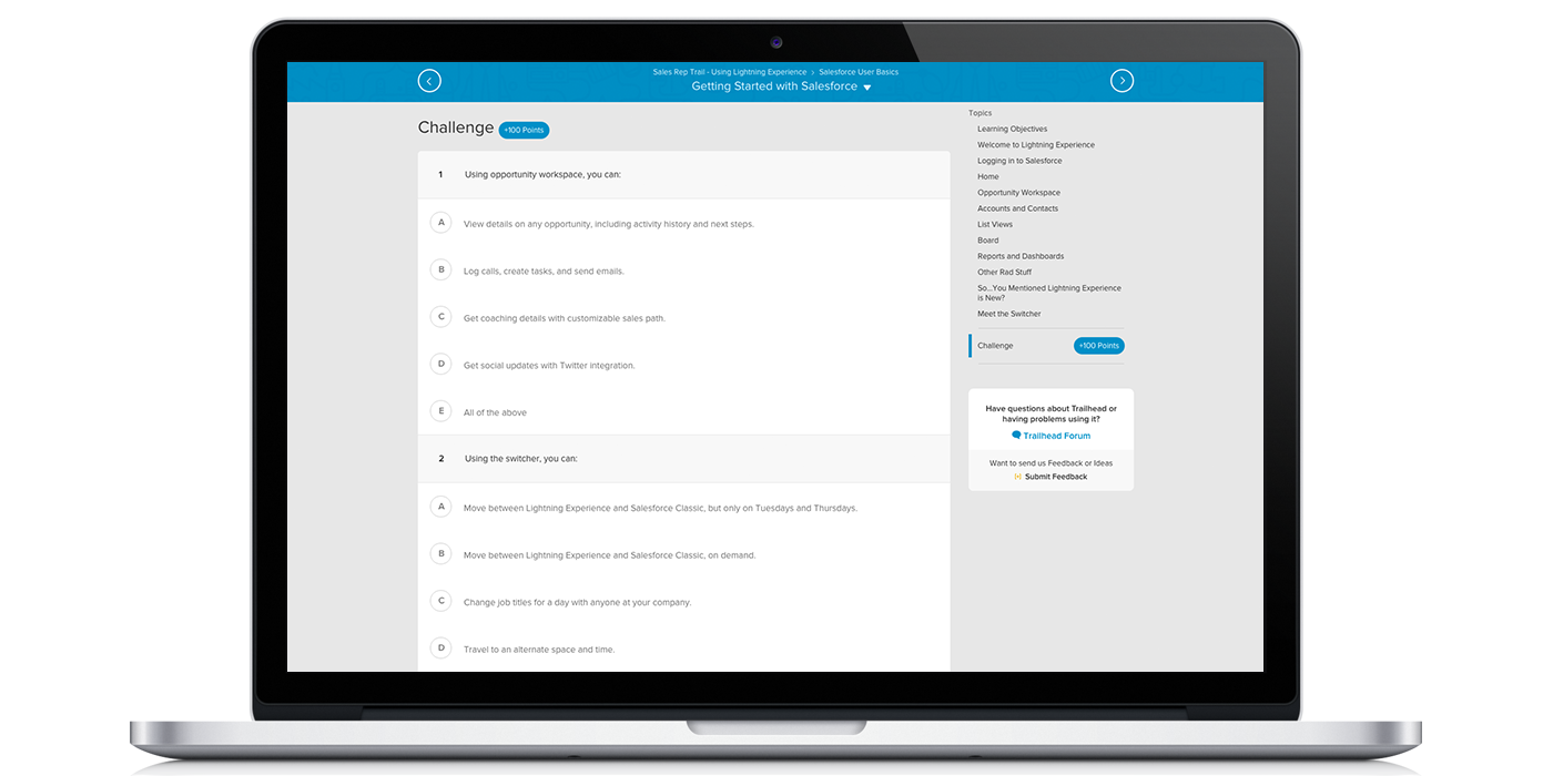 trailhead lightning experience for sales reps challenges