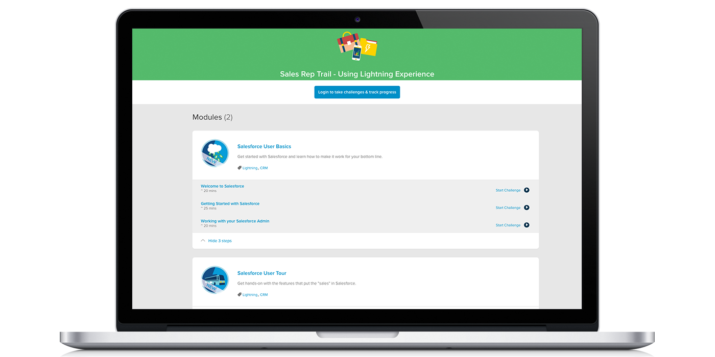 trailhead lightning experience for sales reps modules