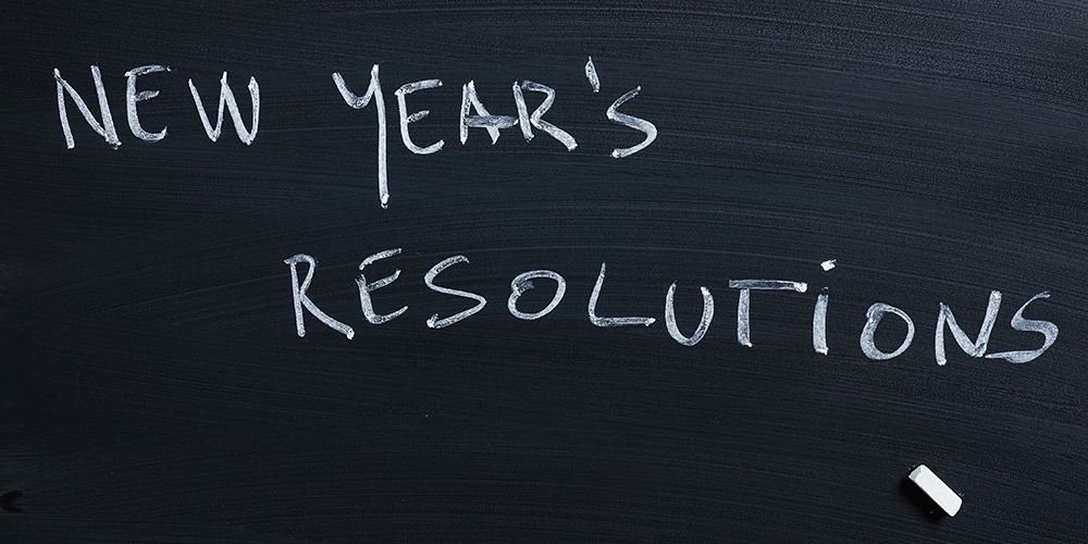 new year's resolutions text on blackboard