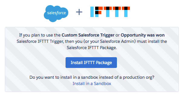 Install IFTTT Package in Salesforce