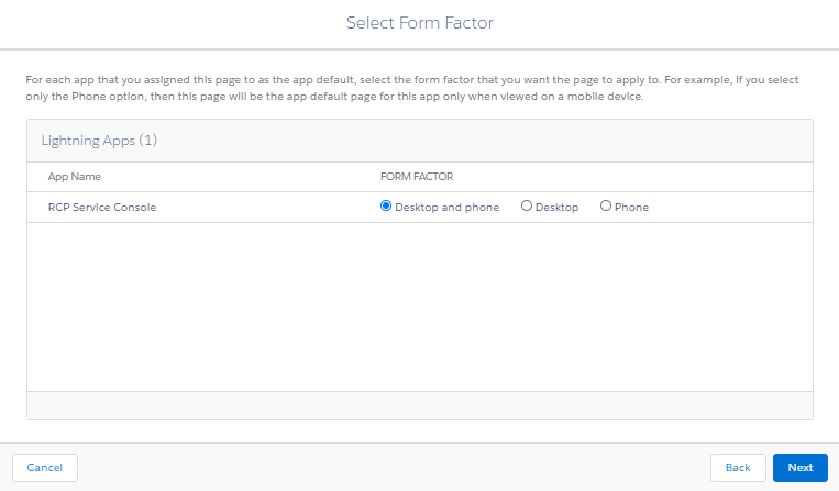 Lightning App Builder Activation Form Factor