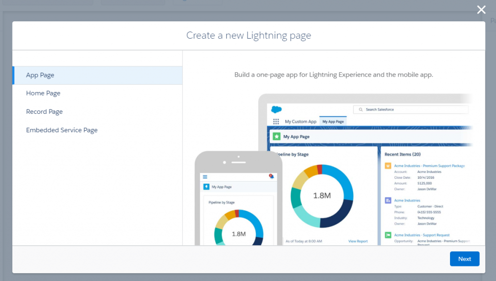 Lightning Page Types